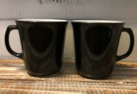 Pair 2 Vintage PYREX Milk Glass Black Coffee Cups Mugs D Handle Retro