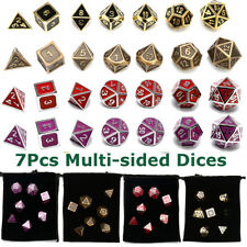 Set of 7 Polyhedral Multi-sided Zinc Dice D4-D20 for Dungeons Dragons Game + Bag