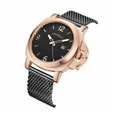 LA BANUS ROSE GOLD/BLACK CROWN GUARD WATCH WITH STAINLESS STEEL MESH BRACELET