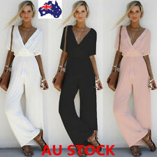 Women V Neck Jumpsuit Short Sleeve Playsuit Party Wide Leg Long Trousers Romper