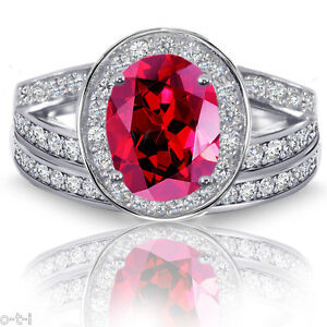 Red Ruby Oval Halo Simulated Diamonds Engagement Sterling Silver Ring Set