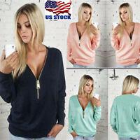 Womens Deep V-Neck Long Sleeve Hoodies Zip Up Ladies Jumper Pullover Blouse Tops