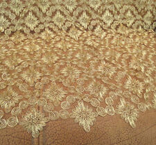 """51"""" Wide Embroidery Gold Corded Bridal Lace Fabric Wedding Lace Fabric 1/2 Yard"""