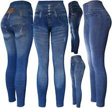 Classic Jean Look Women's High Waisted Denim Print Leggings