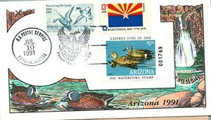 1991 Phoenix Arizona USA Duck Stamp Milford Hand Painted First Day Cover