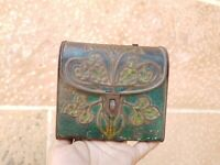 1920s Vintage Old Rare Hand Bag Shape Perfume Litho Embosssed Tin Box Germany