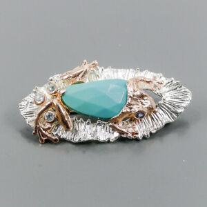 Fine Art Turquoise Brooch Silver 925 Sterling  /NB10666