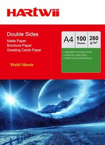 A4 Matte Matt Double Sided Photo Paper Inkjet Paper Print 260Gsm 100-1000 Sheets