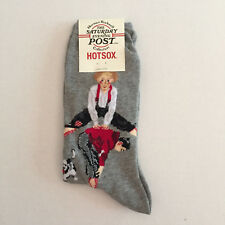 Hot Sox Womens Norman Rockwell Leapfrog Socks Gray New