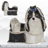 Shih Tzu Dog Trinket Box with Hinged Lid Enamel Bejeweled Crystal Decor Ornament