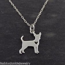 Chihuahua Necklace - 925 Sterling Silver - Cutout Heart Pendant Dog NEW Pet Love