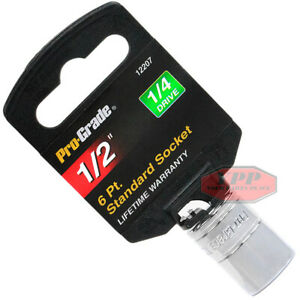 "Pro Grade 1/4"" Drive 1/2"" Standard Socket 6 Point Chrome Vanadium Steel 12207"