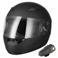 Bluetooth Motorcycle Full Face Helmet Wireless Headset Intercom MP3 FM Radio DOT