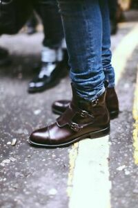 MEN HANDMADE ORIGINAL LEATHER SHOES BROWN BUCKLE STYLISH ANKLE BOOTS