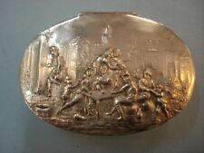 19th Century German Oval Silver Snuff Box-Genre Scene