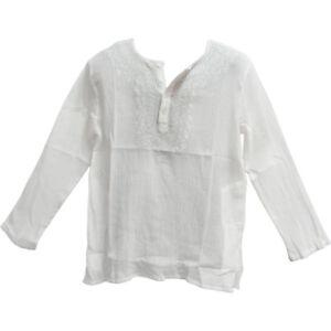 Men's Indian Bohemian Crinkled Gauze Cotton Embroidered Tunic Shirt Kurta
