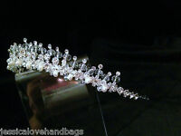 UK seller- Crystal and pearl beads Bridal Tiara Wedding Prom Crown Gift #sj2166A