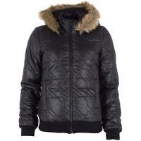 Ladies Adidas Neo Down JKT D86847 Black Hooded Padded Zip Womens Warm Jacket