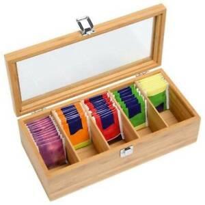 5 Compartments Wood Bamboo Tea Storage Bag Box Organizer Holder Sorter