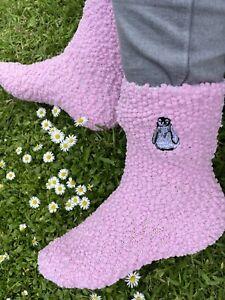 Ladies Penguin Slipper Socks Embroidered Socks Penguin Gift Idea