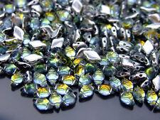 10g Czech GemDuo Twin Hole Beads 8x5mm Backlit Uranium