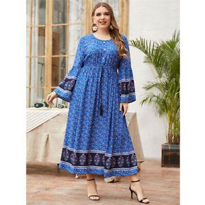 Dubai Abaya Floral Maxi Dress Women Kaftan Jilbab Islamic Beach Sundress Holiday