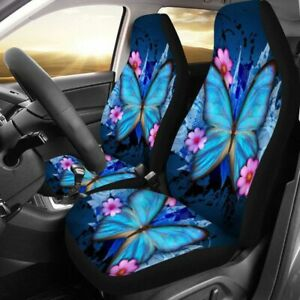 5pc Blue Butterfly Printed Car SUV Seat Cover Protector Universal Cushion Front