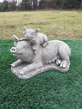 """Solid concrete pig,""""piggy back"""",garden ornament,pigs,COLLECTION ONLY"""