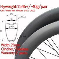 25mm carbon road bike disc wheel clincher tubeless wheelset thru 12*100 12*142mm