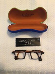 Theo belgium eyeglass frames brown titanium with tortoise acetate