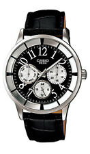 Casio LTP2084L-1B Women's Black Leather Band Multifunction 3 Dial Analog Watch