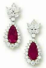 Red Pear Dangle 15.10 CT Anniversary Beautiful Earring Solid 925 Sterling Silver