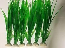 """Grande 12"""" + 6x Acuario Peces Tanque Ornamento Decoración Artificial de Plástico Plantas Verde"""