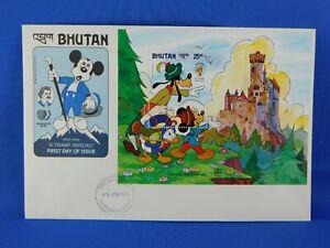BHUTAN FDC 1985  MARK TWAIN A TRAMP ABROAD MICKEY MOUSE   [G14/32]
