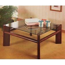 Tavolino da salotto quadrato in legno colore bianco, noce o nero e piano vetro