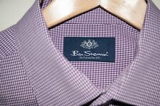 BEN SHERMAN: Fine burgundy Gingham Check Long Sleeve shirt (16.5 neck)