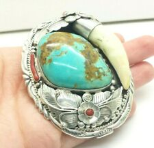 Turquoise Coral Tooth Navajo Sterling Belt Buckle 78g KAY525