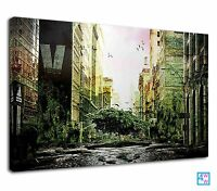 Green City Digital Illustration For Drawing Room Canvas Print Wall Art Picture