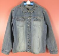 CJ0873- CHICO'S Women's Cotton Denim Jean Jacket Pockets Light Jean Blue 3 L XL