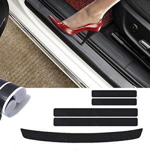 5PC 4D Car Carbon Fiber Car Sill plate Door & Rear Guard Bumper Trim Protector