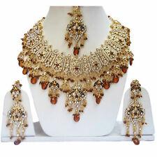 Gold Plated Jodha's Kundan Zerconic Bollywood Necklace Set Earrings Tikka ES9