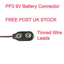 PP3 9V Battery Vinyl Connector Clip Tinned Wire Leads 150mm
