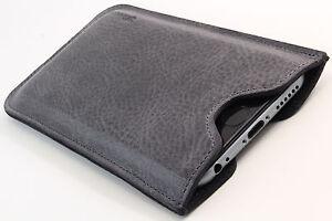 iPhone 5(s) echt Leder Handytasche grau Case Hülle Etui pouch Cover WUNSCHGRAVUR