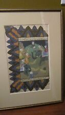 Antique 18th c Persian Arabic Manuscript page superbly Hand painted Figure Frame