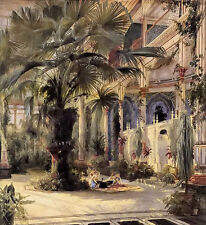 Oil painting karl blechen - in the palm house in potsdam nice landscape canvas