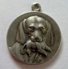 Antique Art Nouveau Silver Repoussé Dog Charm ~ Hunting Scene ~ Nice Detail