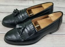 Bostonian Florentine Mens Weave Leather Tassel Slip On Loafers 8.5M Black Italy
