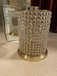 Clear Crystal Gem Embellished Hurricane Lantern Centerpiece Candle Holder