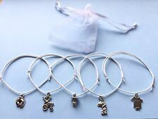 5 x WHITE Bracelets BABY SHOWER Feet pram charm adjustable cord Mum boy/girl