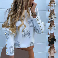 Womens Printed Button Round Neck Long Puff Sleeve Tops Blouse T-Shirts Casual